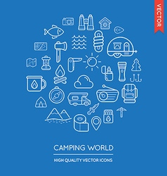 Set of camping modern flat thin icons inscribed in vector