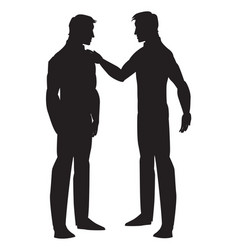 Silhouette of two men talking vector