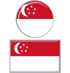 Singapore round and square icon flag vector image vector image