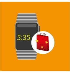 Smart watch red bag gift star design vector