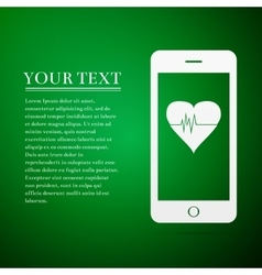 Smartphone with heart rate monitor function flat vector
