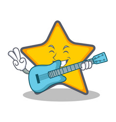 Star character cartoon style with guitar vector