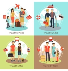 Travelers Concept 4 Flat Icons Square vector image vector image