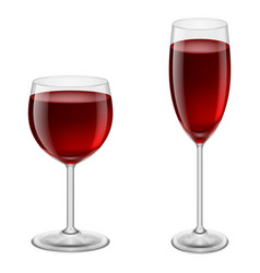 Two glasses of red wine on white background for vector