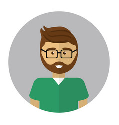 Young doctor with beard glasses and uniform vector