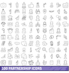 100 partnership icons set outline style vector image