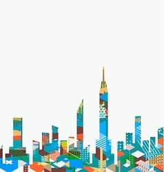 City landscape with colorful geometric graphic vector