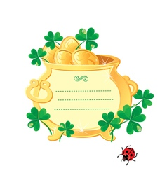 St patricks design - frame is made of gold pot vector