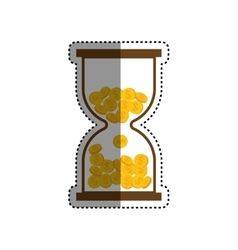 Hourglass with coins vector