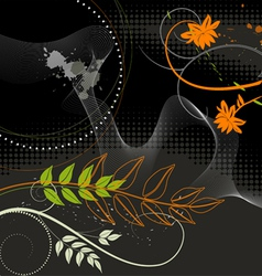 Wallpaper Plants on a black background vector image