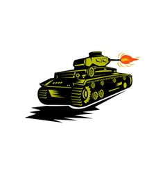 World war two battle tank firing cannon vector
