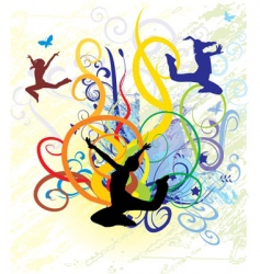 Girls dancing on color backgro vector