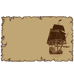 Marine theme old parchment with sailboat vector