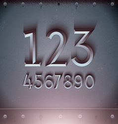 Metal embossed numbers vector