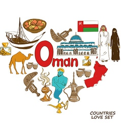Oman symbols in heart shape concept vector