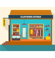 Clothing store man and woman clothes shop vector