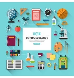 School education background in flat style vector