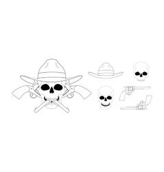 Skull in hat 2 crossed pistols emblem linear vector