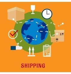 International shipping service flat icons vector