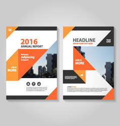Orange black annual report leaflet brochure set vector
