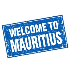 Mauritius blue square grunge welcome to stamp vector