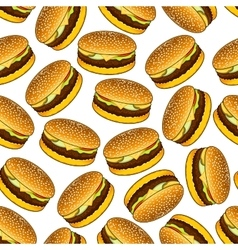 Seamless hamburgers pattern on white background vector