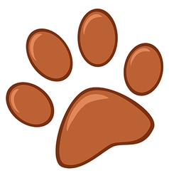 Brown paw print vector