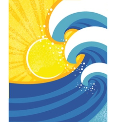Sea waves poster of sea landscape vector image