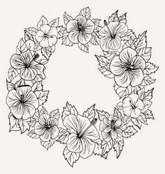 Ornament frame with hibiscus flower and leaves vector
