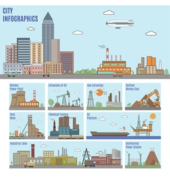 City industry infographics vector