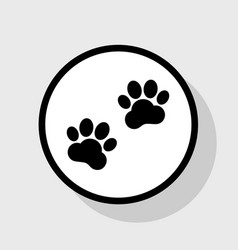 Animal tracks sign flat black icon in vector