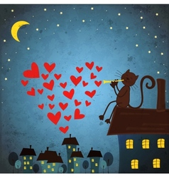 background with night sky star by cat and flute vector image