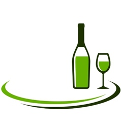 Background with white wine bottle and glass vector