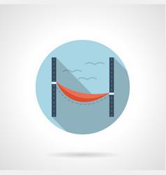 beach hammock flat round icon vector image vector image