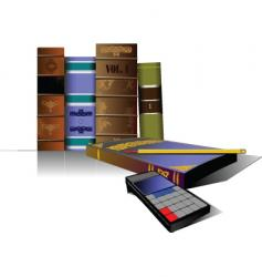 books and pencil vector image