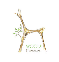 Chair with tree twigs - eco vector