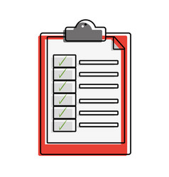 Color folder with document paper and check list vector