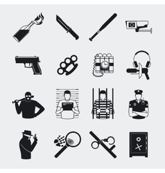 Criminal and prison icons vector