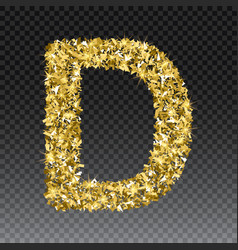Gold glittering letter d shining golden vector