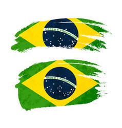 Grunge brush stroke with brazil national flag on vector