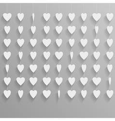 Hanging paper hearts vector image vector image