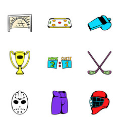 Hockey competition icons set cartoon style vector