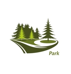 Icon of green park with pines vector image