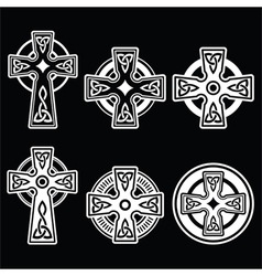 Irish Scottish Celtic white cross on black vector image