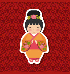 japanese girl design vector image
