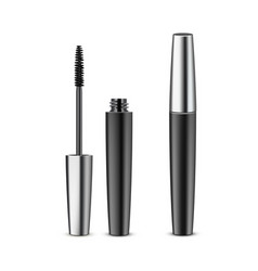 Opened closed black mascara in metallic tube vector