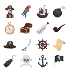 Pirates set icons in cartoon style big collection vector