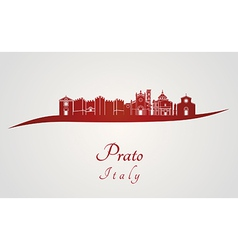 Prato skyline in red vector image vector image