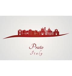 Prato skyline in red vector image
