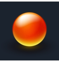 Red and yellow sphere on black background vector image vector image